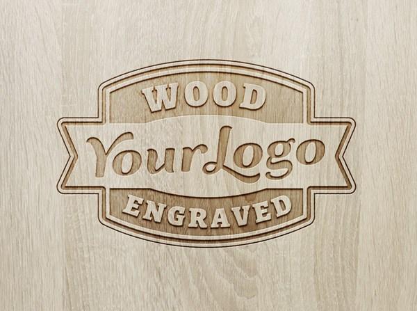 Wood Engraved Logo Lockup - 3d logo MOCKUPS