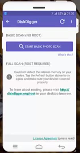 DiskDigger Screen Info