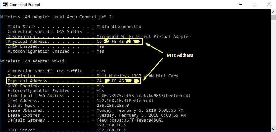 Mac Address CMD