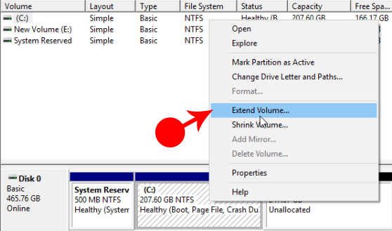Expend C Drive in windows