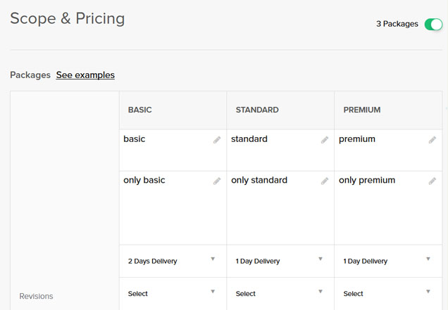 Fiverr Scope & Pricing